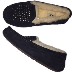 UGG black rhinestone 7 loafers